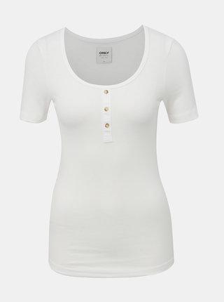 Bílé žebrované tričko ONLY Veronika