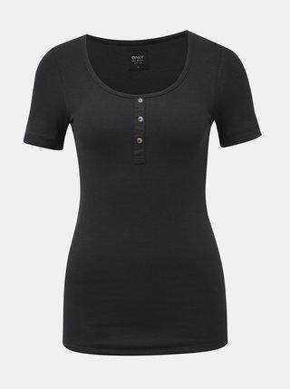 Čierne rebrované tričko ONLY Veronika