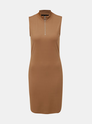 Hnedé rebrované šaty VERO MODA Cillas