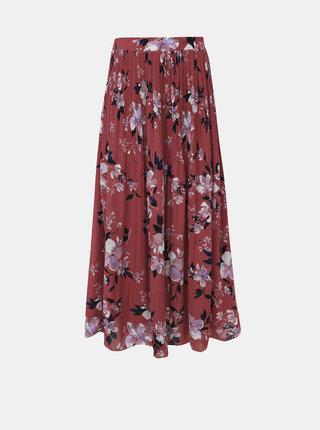 Cihlová květovaná plisovaná maxi sukně VERO MODA Reeda