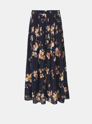Tmavě modrá květovaná plisovaná maxi sukně VERO MODA Reeda