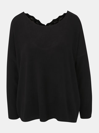Černý lehký svetr s krajkovým detailem ONLY Kleo