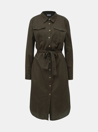 Kaki košeľové šaty Jacqueline de Yong Tulip