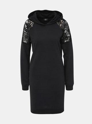 Černé mikinové šaty s krajkou ONLY Catalina