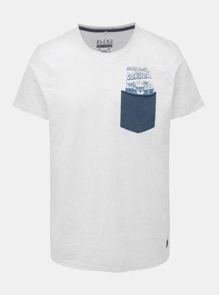 Bílé tričko s potiskem a kapsou Blend