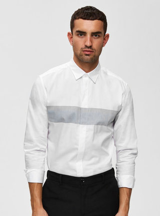 Bílá slim fit košile Selected Homme Block