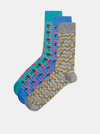 Sada troch párov vzorovaných ponožiek v šedej, modrej a zelenej farbe Burton Menswear London Flamingo