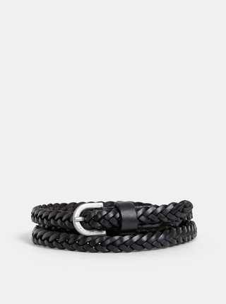 Černý kožený pásek Pieces Aya Alima