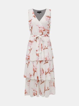 Rúžovo-biele kvetované midišaty Dorothy Perkins