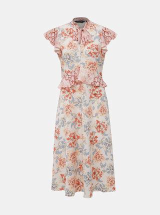 Krémové kvetované midišaty Dorothy Perkins