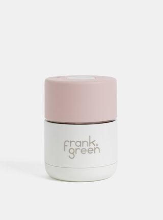 Rúžovo-biely nerezový cestovný hrnček Frank Green 175 ml