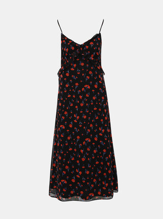 Čierne kvetované midišaty Dorothy Perkins