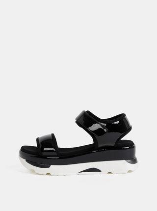 Čierne dámske lesklé sandále na platforme Haily´s Vegas