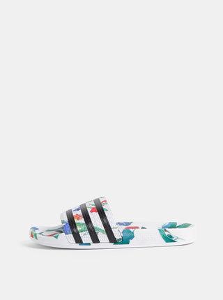 Biele dámske kvetované šľapky adidas Originals