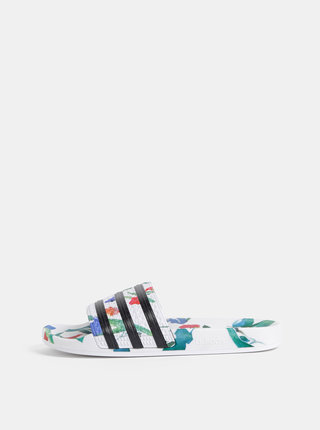 Bílé dámské květované pantofle adidas Originals Adilette