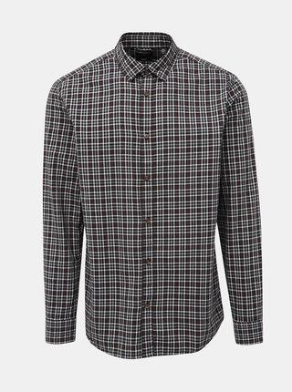 Vínovo-černá kostkovaná regular fit košile ONLY & SONS Orik
