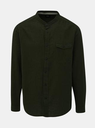 Kaki košeľa s prímesou ľanu Burton Menswear London