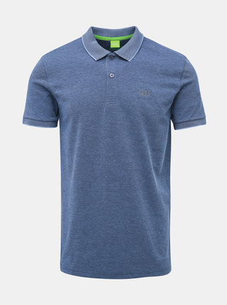 Modré modern fit polo tričko Feedback