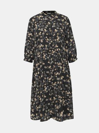 Čierne kvetované košeľové šaty Jacqueline de Yong Zoey