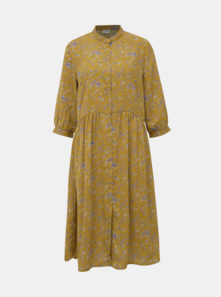 Horčicové kvetované košeľové šaty Jacqueline de Yong Zoey