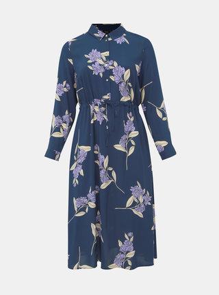 Tmavomodré kvetované košeľové šaty Zizzi Vega