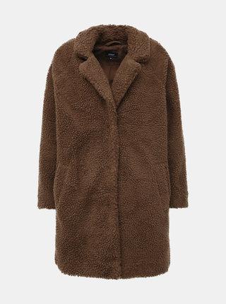 Hnědý kabát z umělé kožešiny ONLY Aurelia