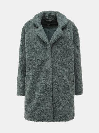 Zeleno-šedý kabát z umelej kožušiny ONLY Aurelia