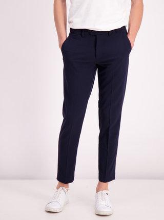 Tmavě modré zkrácené slim fit kalhoty Lindbergh