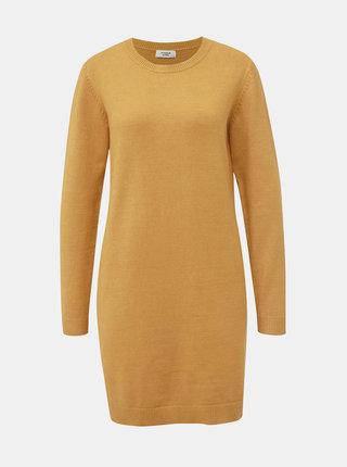 Horčicové svetrové šaty Jacqueline de Yong Marco