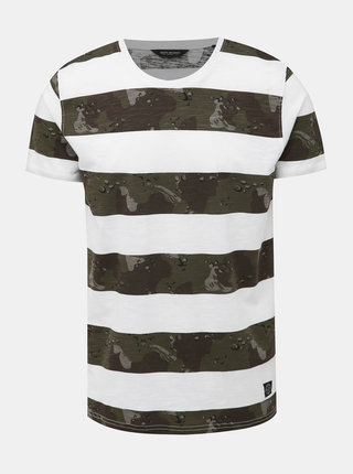 Zeleno-biele pruhované tričko Shine Original Camo