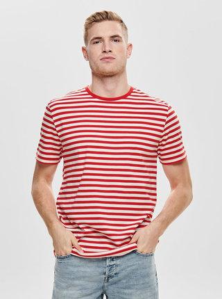 Bielo-červené pruhované basic tričko ONLY & SONS Jamie