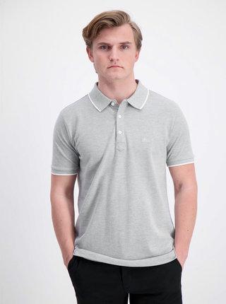 Šedé žíhané slim fit polo tričko Lindbergh