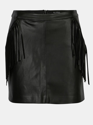 Čierna koženková mini sukňa so strapcami Miss Selfridge