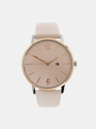Dámské hodinky se světle růžovým koženým páskem Tommy Hilfiger