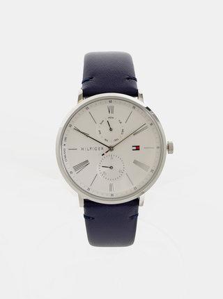 Dámské hodinky s tmavě modrým koženým páskem Tommy Hilfiger
