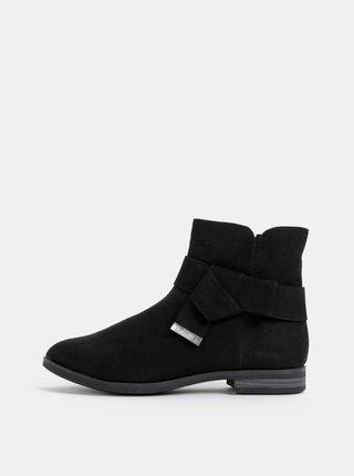 Čierne dámske kotníkové topánky v semišovej úprave s.Oliver