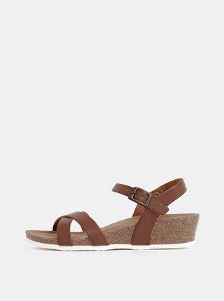 Hnědé sandálky na klínku OJJU
