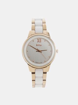 Dámské hodinky s nerezovým páskem v bílé a zlaté barvě Lee Cooper
