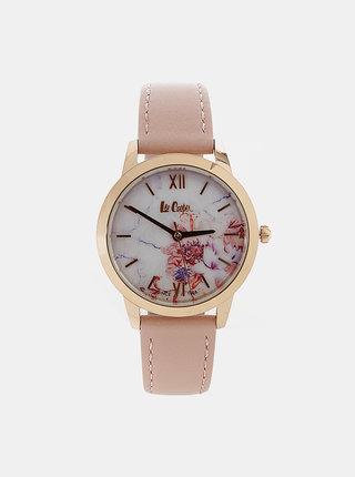 Dámske hodinky so svetloružovým koženým remienkom Lee Cooper