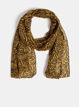 Černo-hnědý vzorovaný šátek M&Co