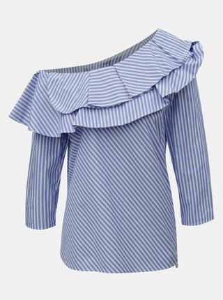 Bielo–modrá pruhovaná blúzka s odhaleným ramenom Rich & Royal