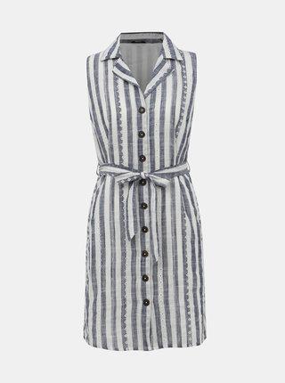 Modro-bílé pruhované košilové šaty s madeirou M&Co Petite Schiffly