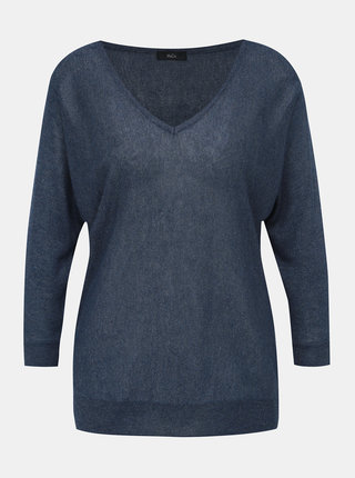 Tmavomodrý ľahký sveter s 3/4 rukávom M&Co