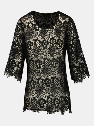 Bluza neagra din macrame cu maneci 3/4 ONLY Kim