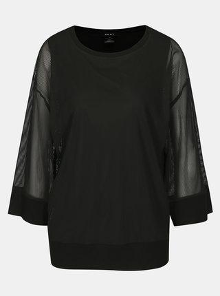 Čierna blúzka s priesvitnými rukávmi DKNY