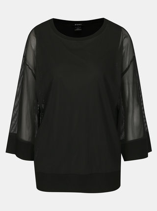 Černá halenka s průsvitnými rukávy DKNY