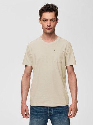 Krémové tričko s vreckom Selected Homme Jared