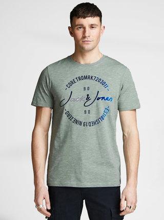 Svetlozelené melírované tričko s potlačou Jack & Jones Mick