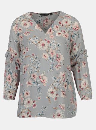Bluza gri deschis cu print floral si volane Dorothy Perkins Curve