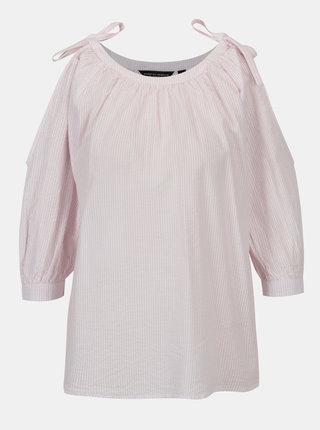 Bielo-ružová pruhovaná blúzka s prestrihmi na ramenách Dorothy Perkins